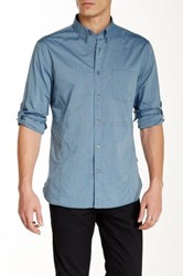 Star Usa By John Varvatos Pinstripe Long Sleeve Roll Up Sport Trim Fit Shirt Blue