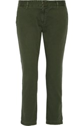 Current Elliott The Buddy Cotton Twill Straight Leg Pants Army Green