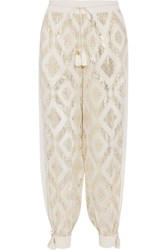 Rachel Zoe Metallic Fil Coupe Silk Blend Wide Leg Pants Ivory