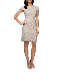 Alex Evenings Lace Shift Dress Taupe