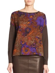 Akris Cashmere Silk Floral Front Sweater Cypress