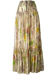 Etro Pleated Maxi Skirt Metallic