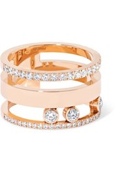 Messika Move Romane Large 18 Karat Rose Gold Diamond Ring