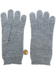Moschino Bear Engraved Gloves Grey