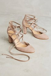 Anthropologie Schutz Arya Lace Up Pumps Taupe