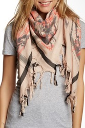 Leigh And Luca Abstract Printed Tassle Scarf Gray