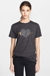 Rodarte 'Rohearte' Heart Graphic Tee Heather Black