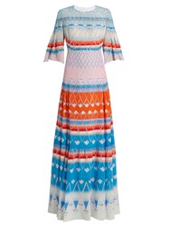 Peter Pilotto Multi Print Silk Pleated Maxi Dress