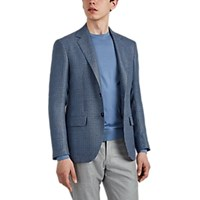 Sartorio Houndstooth Wool Linen Two Button Sportcoat Blue Pat.