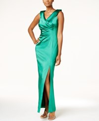 Tahari By Arthur S. Levine Asl Faux Wrap Column Gown Emerald Green