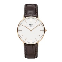 Daniel Wellington Classic York Rose Gold Watch Croc Brown