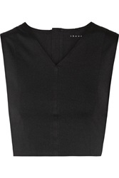 Theory Zeen Cropped Stretch Jersey Top Black