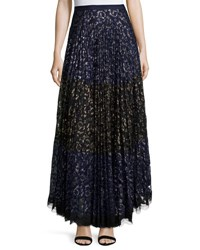 Saloni Karen Pleated Lace Maxi Skirt Navy