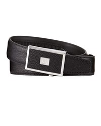 Dunhill 30Mm Cadogan Grained Leather Belt With Auto Buckle Black