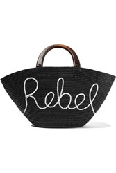 Eugenia Kim Carlotta Sequin Embellished Woven Straw Tote Black