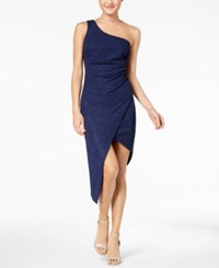 B. Darlin B Juniors' Glitter Ruched One Shoulder Dress Navy