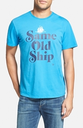 Ames Bros 'Same Old Ship' Graphic T Shirt Malibu Blue