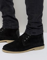 Asos Desert Boots In Black Suede With Leather Detail Black