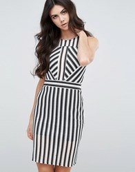 Love And Other Things Striped Bodycon Dress Mono Multi