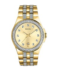 Bulova Crystal Stainless Steel Band Watch Gold