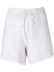 P.A.R.O.S.H. Sequin Embellished Shorts White