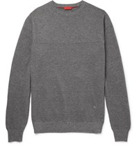Isaia Melange Cotton Sweater Gray