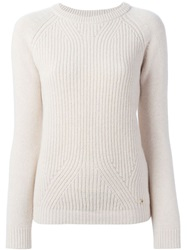 Woolrich Ribbed Crew Neck Sweater Nude And Neutrals