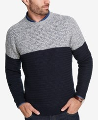Weatherproof Vintage Men's Colorblocked Marled Sweater Navy