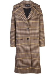 Proenza Schouler Oversized Wool Plaid Coat Brown