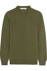 Givenchy Distressed Sweater In Army Green Cashmere