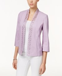 Alfred Dunner Cutout Open Front Jacket Lavender