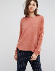 Gestuz Oba Crew Neck Mohair Wool Blend Jumper Canyon Rose Red