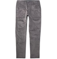 The Workers Club Tapered Cotton Corduroy Trousers Gray