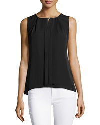 Laundry By Shelli Segal Pleated Sleeveless Blouse Black