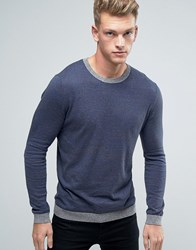 Asos Crew Neck Jumper With Contrast Hem Navy Grey Grey Marl