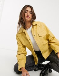 Bershka Faux Leather Shacket With Removable Tie Waist In Mustard Yellow