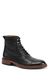 Trask Men's 'Lowell' Cap Toe Boot Black Washed Leather