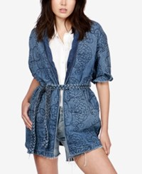 Lucky Brand Quilted Denim Kimono Jacket Crystal Springs