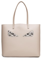 Fendi Monster Roll Leather Tote Grey