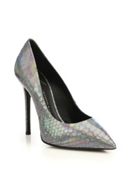 Giuseppe Zanotti Iridescent Snake Embossed Leather Pumps Silver Gold