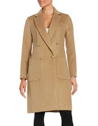 Michael Michael Kors Double Breasted Wool Blend Coat Dark Camel