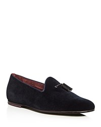 Ted Baker Thrysa Velvet Smoking Slippers Dark Blue