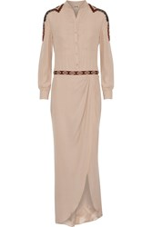 Haute Hippie Embellished Layered Silk Playsuit Nude