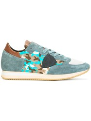 Philippe Model Camouflage Lace Up Sneakers Blue