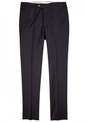 Emporio Armani Straight Leg Wool Trousers Navy