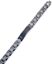 Esquire Men's Jewelry Diamond Accent Id Bracelet In Gunmetal And Black Ip Over Stainless Steel First At Macy's