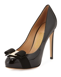 Rilly Patent Bow Pump Black Nero Salvatore Ferragamo