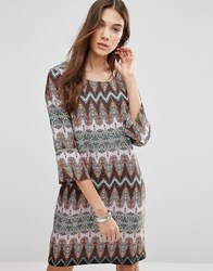 Blend She Delia Zig Zag Print A Line Dress Multi