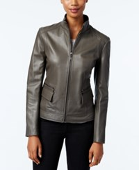 Cole Haan Stand Collar Leather Jacket Dove