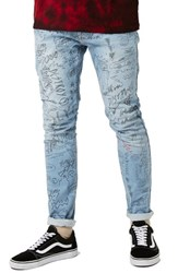 Topman Men's Doodle Print Stretch Skinny Fit Jeans